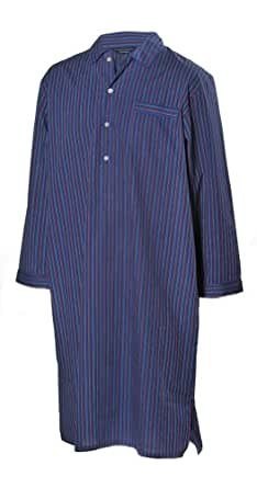 Lloyd Attree & Smith - chemise de nuit homme, doux et confortable - 100% coton - rayé bleu foncé / rouge (M)