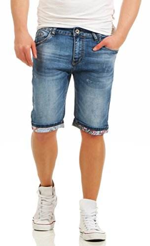 Fashion4Young Herren Bermuda Jeans Hose Denim Shorts Usedlook Freizeithose  Herrenbermudas Destroyed (11081-blau, bce6bf8829