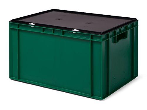 Transport-Stapelbox/Lagerbehälter grün, mit schwarzem Verschlußdeckel, 600x400x320 mm (LxBxH)