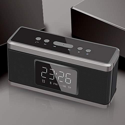 FENGCLOCK Wecker Digital Funkuhr, Portable Bluetooth-Lautsprecher Subwoofer Elektronische Uhr, AUX/TF-Karte FM Radio Tischuhr, Nachttisch-LED-Wecker,Black - Kabel Subwoofer Abs