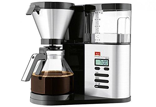 Melitta AromaElegance DeLuxe 1012-03, Filterkaffeemaschine mit Glaskanne, Aroma Control, Timer-Funktion, Schwarz/Edelstahl -