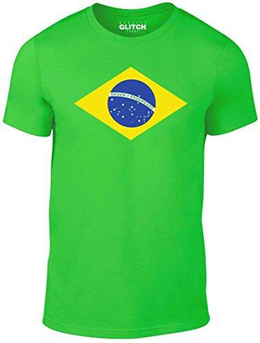 Reality Glitch Herren Brasilien Flagge T-Shirt (Irisches Grün, Groß) -