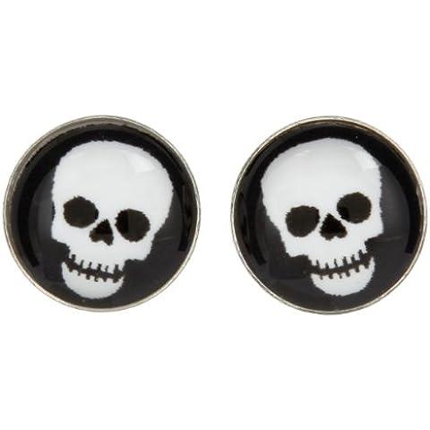 So Chic Joyas - Pendientes Cierre presión botón Chica Plata 925 - Resina - Calavera- Cráneo