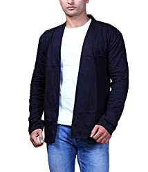 Mens Cotton Blend Hooded Cardigan (BLACK, Large)