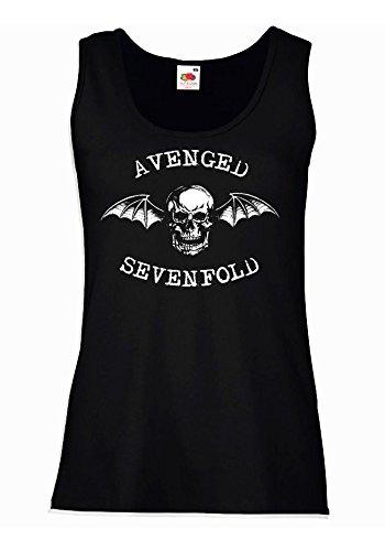 """Canotta Donna """"Avenged Sevenfold"""" - 100% cotone LaMAGLIERIA, XL, Nero"""