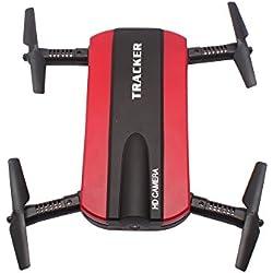 Drone Togather Faltbar Taschendrohne RC Quadcopter Drone con cámara HD WIFI FPV Altitud Función (Rojo)