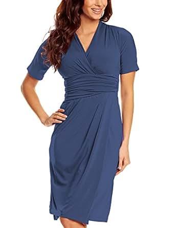 Knielanges Damen Jersey Kleid Kurzarm V-Ausschnitt Wickeloptik Business Büro Elegante stilvolle Kleider Jerseykleider Ärmel Frauen Pfauenblau 40