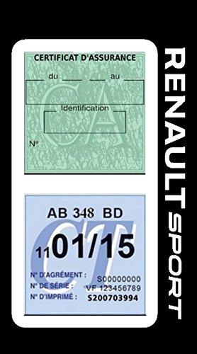 Générique Étui Double Assurance Renault Sport Blanc Porte Vignette adhésif Voiture Stickers Auto Retro