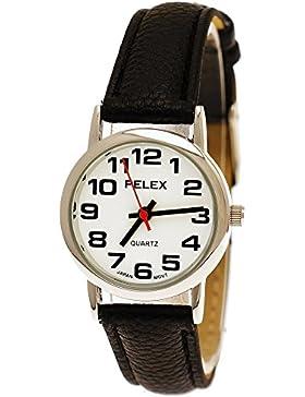 Elegante Kleine Pelex London Damen-Uhr Analog Quarz Armband-Uhr Klassisches Design Schwarz Silber