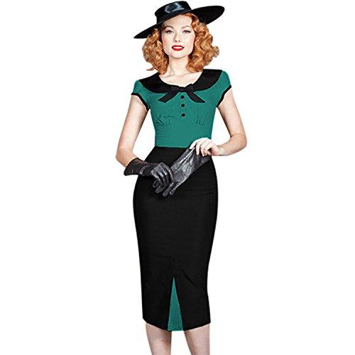 Damen Kurzarm Partykleid Business Kleider mit Schleife Grün