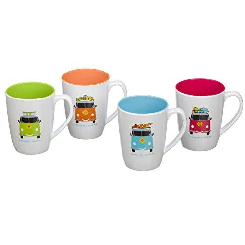 Camping Tassen Set aus Melamin 4-teilig für Kinder, 350ml, Spülmaschinenfest für Picknick, Kratzfest und Bruchsicher, Geschirrset im kinderfreundlichem Design, Kaffeetassen, Becher Trinkbecher Kids