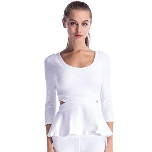Dooxi Femme Sport Gym Yoga Fitness T-Shirt 3/4 Manches Séchage Rapide Blouse Tops Blanc
