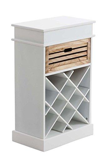 CLP Holz-Weinregal Hilla, 1 Schublade, Regal für 12 Flaschen, Landhaus-Stil, 50 x 30 cm, Höhe 80...
