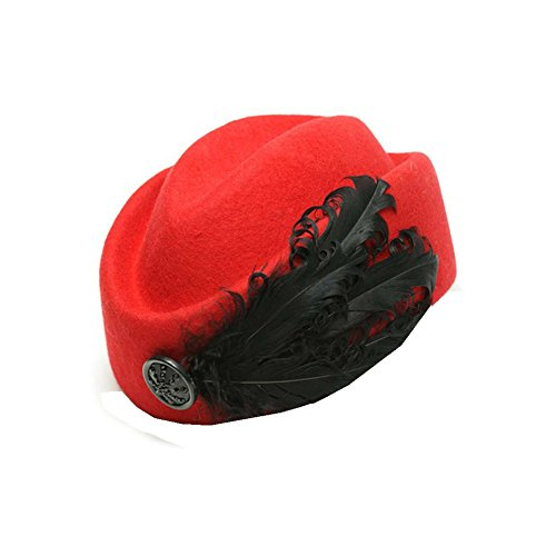 Lawevan® Femmes Cashmere Feather Retro Beret Rouge
