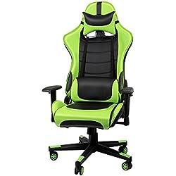 IntimaTe WM Heart Racing Chaise de Bureau en PU, Fauteuil siège Gaming Inclinaison de 135° Appui-tête Soutien Lombaire Ajustable (Vert)