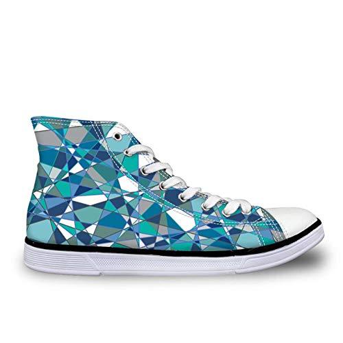 Blue Designs Lace Up Women Girls Hi Tops Canvas Shoes Flat Plimsolls Light Pumps deep Blue UK 6