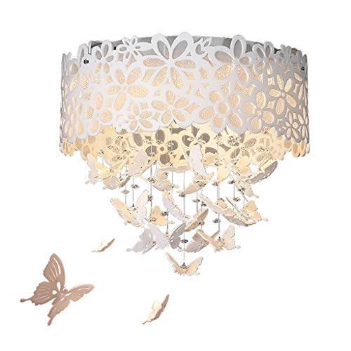 Spots de plafond Lustre Papillon Lustre Simple Moderne LED Lampe De Plafond Chaud Romantique Lustre Salon Salle À Manger Chambre Lustre (Color : Beige, Size : 32 * 32 * 30cm)