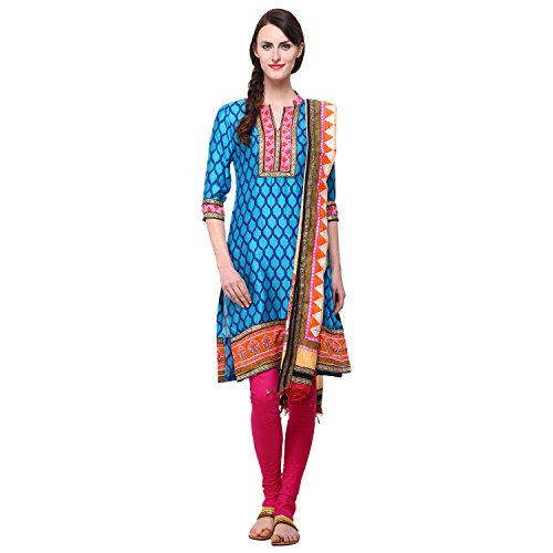 Vastrangna Firozi Cotton Silk Semi-Patiala Salwar Kameez Fabric With Chunni For Women