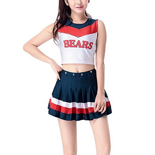 uirend Kostüme Erwachsene Bekleidung Röcke - Damen Cheerleader Uniform Fußball Sport Kleid Outfit Karneval Fasching Halloween Kostüm