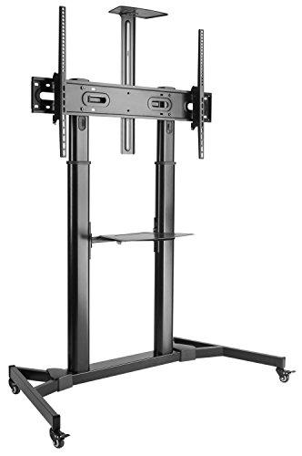 Holz-tv-ständer Möbel (RICOO TV Ständer FS3610 Universal für ca. 60-100 Zoll (152-254cm) Auf Rollen Neigbar Höhenverstellbar mit Kabelführung Standfuß Fernsehständer Rollbar Mobil | VESA 400x200 1000x600 Schwarz mit Regal)