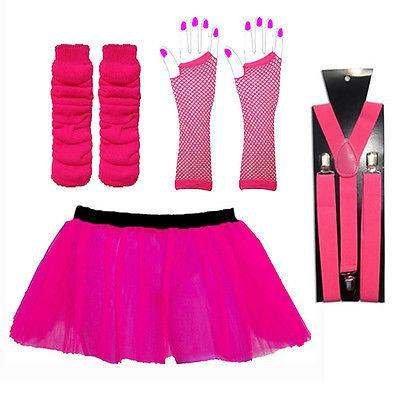 (RB Mode Kleidung) Erwachsene Fancy Dress Hen Night Night Tutu Vier Teilig Hirsch-Tutu + Netzhandschuhen + Beinstulpen + Straps Hosenträger one size (80er Mode Für Kinder)