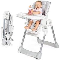 Fillikid - Chaise haute bébé - évolutive avec Dossier inclinable, Coussin, Harnais et Tablette avec Plateau amovible - Réglable en Hauteur et Pliable | Gris, Blanc
