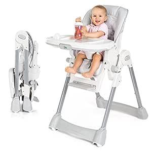Fillikid Baby Hochstuhl - Babystuhl mit Liegefunktion, Sitzpolster, Gurt, Tisch mit abnehmbarem Tablett, höhenverstellbar und klappbar - Grau Weiß