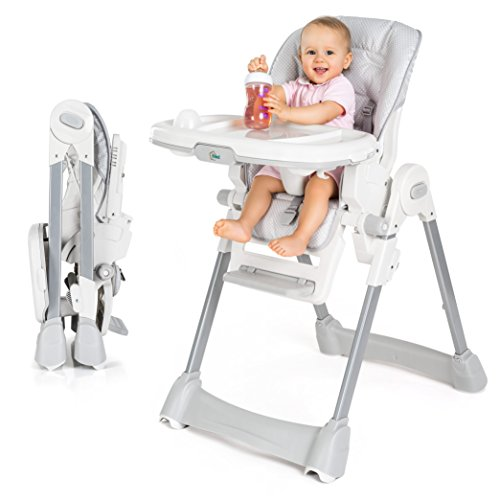 Fillikid Baby Hochstuhl - Babystuhl mit Liegefunktion, Sitzpolster, Gurt, Tisch mit abnehmbarem Tablett - höhenverstellbar und klappbar | Grau Weiß