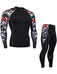 Huateng Männer gedruckt Sport Casual Trainingsanzug hohe elastische Enge  Tops Leggings Zwei Stücke Sets Jogging Yoga 8799b8d317