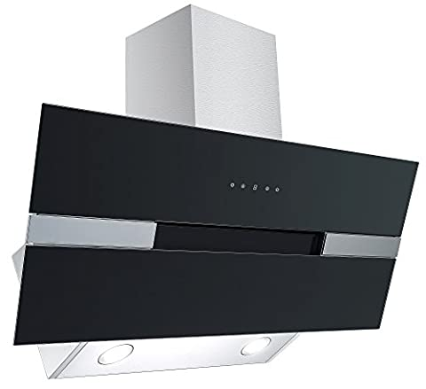 Cookology ELITE905BK 90cm Black Angled Glass Extractor Fan | Designer Chimney Cooker Hood