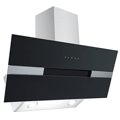 41t6MZx5DdL. SS500  - Cookology ELITE905BK 90cm Black Angled Glass Extractor Fan | Designer Chimney Cooker Hood