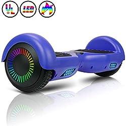 """Huanhui Balance Board 6,5"""" Gyropode Smart Skateboard Électrique, LED Auto-équilibrage, Smart Scooter Overboard Sécurisé UL, pour Enfants und Adultes, Bleu"""