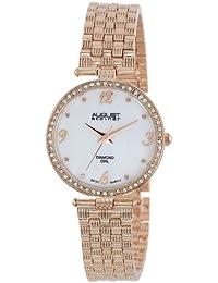 August Steiner Reloj de pulsera de Rose-tone de nácar Diamante para Mujer