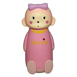 Manbhari Cute 3D Monkey Style Stainless Steel Water Bottle Cartoon Style Leakproof Bottle 230 ML (Pink)