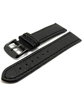 Meyhofer Uhrenarmband Tebessa Classic 22mm schwarz abgenäht schwarze Schließe MyHekslb111/22mm/schwarz/TiT