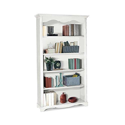 Inhouse srls libreria, arte povera, in legno massello e mdf con rifinitura in bianco opaco - mis. 120 x 40 x 210
