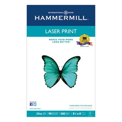 Laser Print Office Paper, 98 Brightness, 24lb, 8-1/2 x 14, White, 500 Sheets/RM, Sold as 1 Ream, 500 per Ream by Hammermill (Hammermill Print 24 Lb Laser)