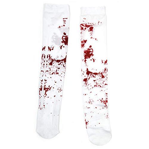 Thema Heißes Kostüm Paar - Halloween Socken Halloween Blood Sock Frauen Sexy Horror Bloody Nurse Overknee Socken Weiß für Kleinkind Mädchen Frauen
