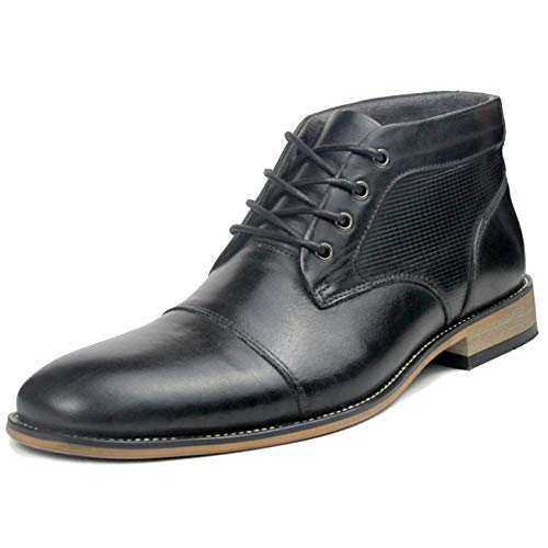 YC Inverno Alto Top Scarpe Mens Il Cuoio Genuino Vestito Convenzionale Stivaletti per Uomo Gentleman Martin Boots I Migliori Regali di Natale,Black-39