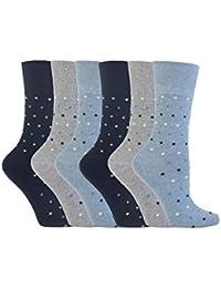 6 Pairs of SockShop Everyday Gentle Grip Socks Denim Blue Polka Dots RH49 Ladies 4-8
