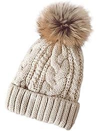 Invierno Mujer Gorro con Pompom Punto de lana Sombrero de Canabis Ganchillo