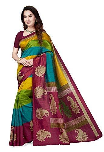 4cdc303a2da Ishin Art Silk Saree with Blouse Piece (Ishinsc-40074 Multicolor One Size)