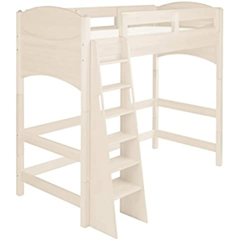 Ahorro establecen: Noah cama alta 140 cm, blanco. Pino Biológica