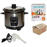 Pritech - Cocedor de arroz automático al vapor anti- adherente de acero inoxidable 1.2 Litres