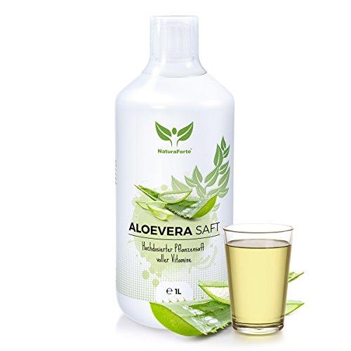 NaturaForte Aloe Vera Direkt-Saft 1L zum Trinken, Traditionell hand-filetiert, Aus kontrolliertem Anbau, Abgefüllt in Deutschland (1 Liter Aloe)
