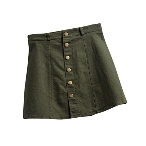 TWIFER Damen Mode Koreanischen Stil Denim A-Linie Rock (M, Armeegrün)