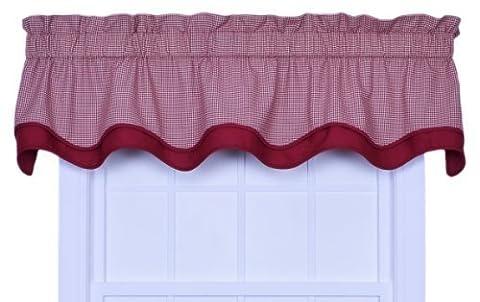 Logan Gingham Check Print Bradford Valance Window Curtain, Red by Ellis Curtain