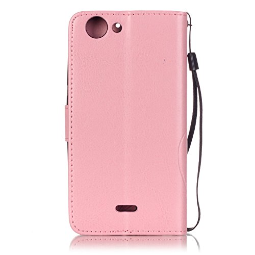 Prägen Blumen-Case, Magnetverschluss Synthetische PU-Leder-Kasten-Abdeckung mit hängenden Seil und Wallet-Funktion für WIKO PULP 4G ( Color : Pink , Size : WIKO PULP 4G ) Pink