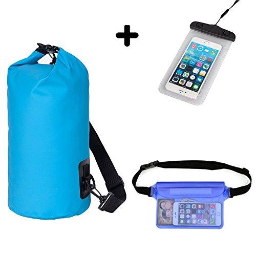 HOGAR AMO Sac Étanche 10L + Pochette Téléphone + Sacoche Étanche 3 en 1 pour Sports Aquatiques Natation Camping Nautique Kayak Pêche