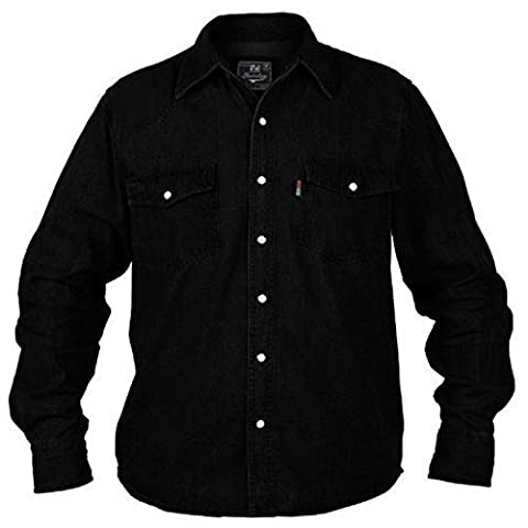 Big Large King Size Mens Rockford Duke Western Denim Shirt Black Long Sleeved Top (4XL - XXXXL)